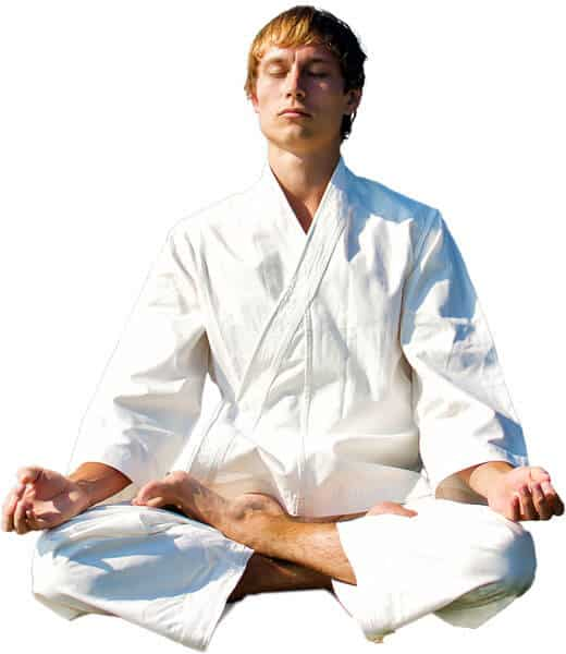 Martial Arts Lessons for Adults in _Citrus Heights_ _CA_ - Young Man Thinking and Meditating in White