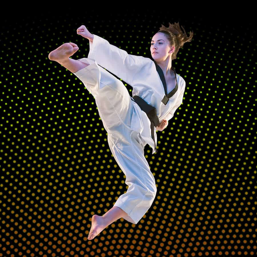 Martial Arts Lessons for Adults in _Citrus Heights_ _CA_ - Girl Black Belt Jumping High Kick