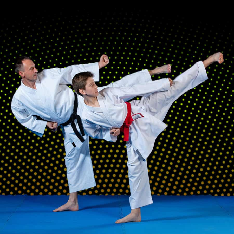 Martial Arts Lessons for Families in _Citrus Heights_ _CA_ - Dad and Son High Kick
