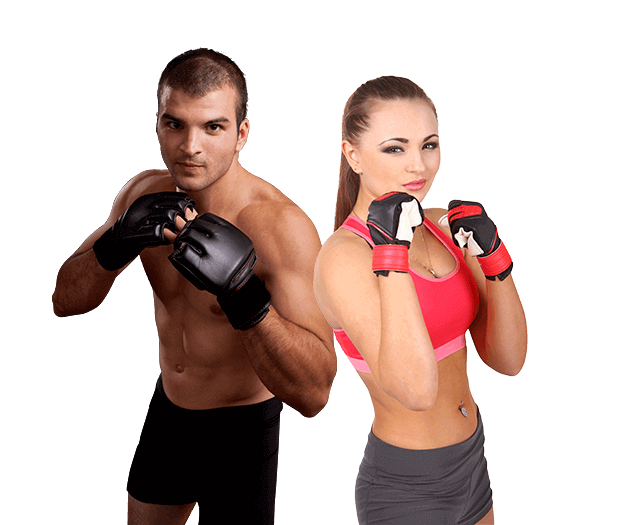 Mixed Martial Arts Lessons for Adults in _Citrus Heights_ _CA_ - Hands up Fitness MMA Man and Woman Footer Banner