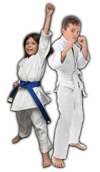 Martial Arts Lessons for Kids in _Citrus Heights_ _CA_ - Happy Blue Belt Girl and Focused Boy Banner